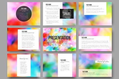 holi: Set of 9 vector templates for presentation slides. Colorful background, Holi celebration, vector illustration Illustration