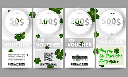 st patricks day: Set of modern gift voucher templates. St Patricks day vector background, green clovers on white. Illustration