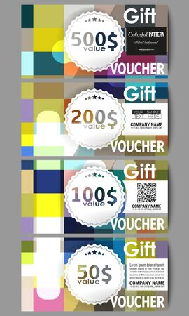 gift voucher: Set of modern gift voucher templates. Abstract colorful business background, modern stylish vector texture.