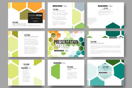 Reeks van 9 vector sjablonen voor presentatiedia's. Abstracte kleurrijke zakelijke achtergrond, moderne, stijlvolle vector textuur.