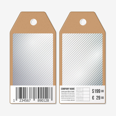 both sides: Vector tags design on both sides, cardboard sale labels with barcode. Lines vector background.