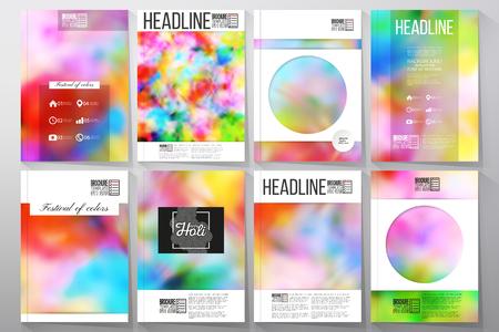 pichkari: Set of business templates for brochure, flyer or booklet. Colorful background for Holi celebration, vector illustration Illustration