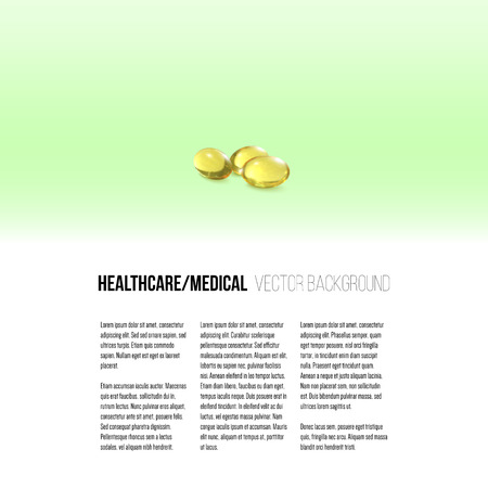 cod liver: Fish oil, pills isolated on green background, vector background for brochure, flyer or banner.