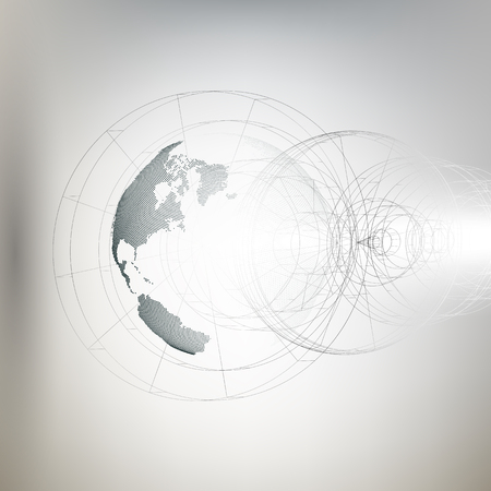 social movement: Three-dimensional dotted world globe with abstract construction on gray background, vector illustration.