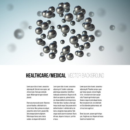 atomic structure: Medical scientific cell. Abstract graphic design of molecule structure, vector background for brochure, flyer or banner. Illustration