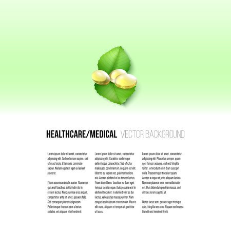 Fish oil, pills isolated on yellow background, vector background for brochure, flyer or banner.