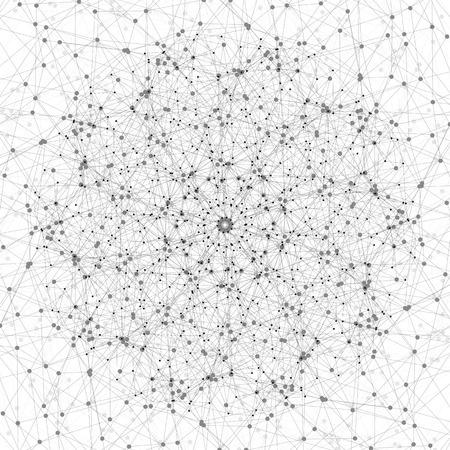 分子構造、分子構造で接続されている線やドット、白背景に科学的またはデジタル デザイン パターン ベクトル イラスト。  イラスト・ベクター素材