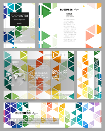 rainbow slide: Set of business templates for presentation, brochure, flyer or booklet. Abstract colorful business background, modern stylish hexagonal and triangle vector texture Illustration