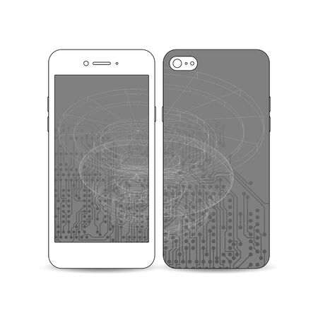 circuitos electricos: Mobile smartphone with an example of the screen and cover design isolated on white background. Microchip background, electrical circuits, science design vector template.