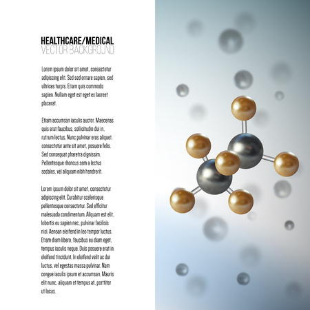 structure: Medical scientific cell. Abstract graphic design of molecule structure, vector background for brochure, flyer or banner. Illustration