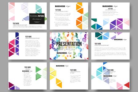 Reeks van 9 vector sjablonen voor presentatiedia's. Abstracte kleurrijke zakelijke achtergrond, moderne, stijlvolle zeshoekig en driehoek vector textuur