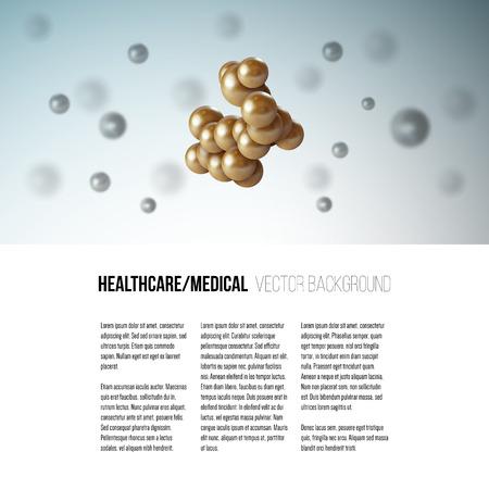 bombe atomique: cellule scientifique médicale. conception graphique Résumé de la structure molécule, vecteur de fond pour la brochure, dépliant ou bannière.