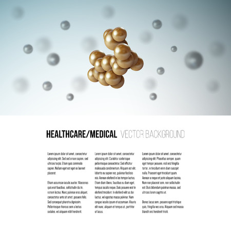 atomic bomb: Medical scientific cell. Abstract graphic design of molecule structure, vector background for brochure, flyer or banner. Illustration