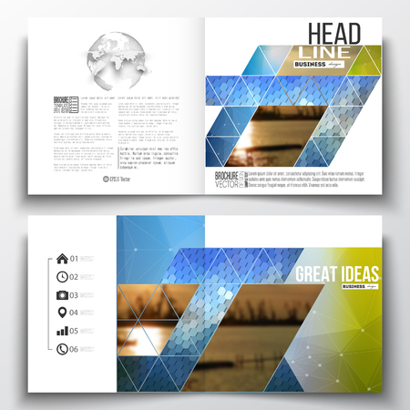 Vector set of square design brochure template. Abstract colorful polygonal background with blurred image on it, modern stylish triangular and hexagonal vector texture.