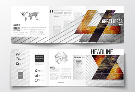 catalog cover: Vector set of tri-fold brochures, square design templates with element of world map and globe. Abstract colorful polygonal background, modern stylish triangle vector texture.