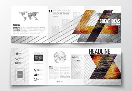 Vector set van tri-voudige brochures, vierkant ontwerp sjablonen met element van de wereldkaart en bol. Abstracte kleurrijke veelhoekige achtergrond, moderne, stijlvolle driehoek vector textuur.