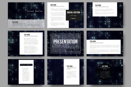 brochure background: Set of 9 vector templates for presentation slides. Virtual reality, abstract technology background with blue symbols, vector illustration.