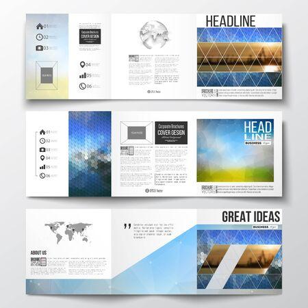 三つ折りパンフレットのセットをベクトル、正方形の世界地図と世界の要素とデザイン テンプレート。抽象的なカラフルなポリゴン背景、現代のス  イラスト・ベクター素材