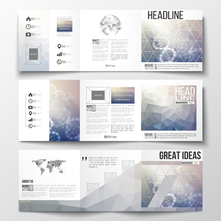 dna: Vector set of tri-fold brochures, square design templates with element of world map and globe. DNA molecule structure on a blue background. Science vector background.