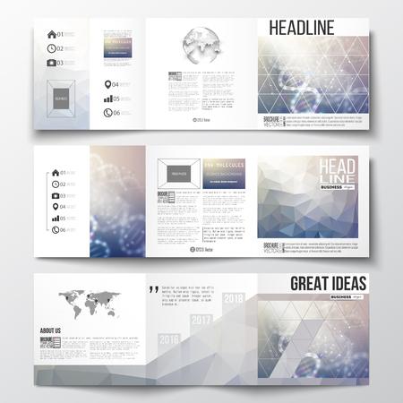 Vector set van tri-voudige brochures, vierkant ontwerp sjablonen met element van de wereldkaart en bol. DNA molecuul inrichting op een blauwe achtergrond. Science vector achtergrond. Vector Illustratie