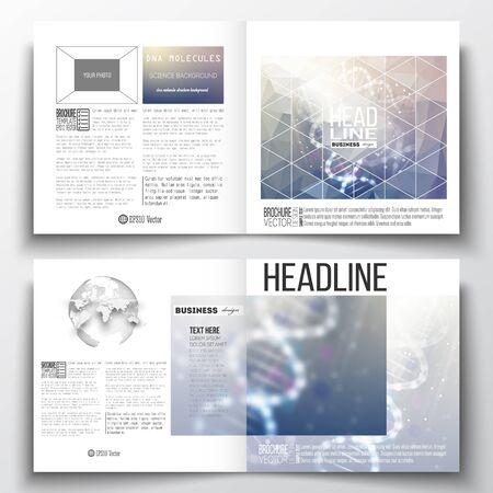Vector set van vierkante ontwerp brochure sjabloon. DNA molecuul inrichting op een blauwe achtergrond. Science vector achtergrond.