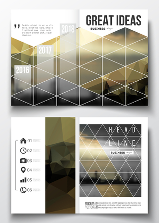 loading dock: Set of business templates for brochure, magazine, flyer, booklet or annual report. Abstract colorful polygonal background with blurred image, seaport landscape, modern stylish triangular vector texture Illustration