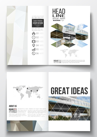 outdoor advertising construction: Set of business templates for brochure, magazine, flyer, booklet or annual report. Abstract colorful polygonal background, blurred image, urban scene, modern stylish triangular vector texture.