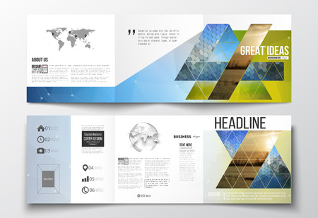 magazine page: Vector set of tri-fold brochures, square design templates with element of world map and globe. Abstract colorful polygonal background with blurred image on it, modern stylish triangular and hexagonal vector texture.