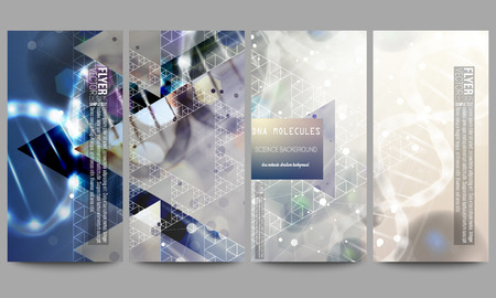 cover art: Set of modern vector flyers. DNA molecule structure on dark blue background. Science vector background. Illustration