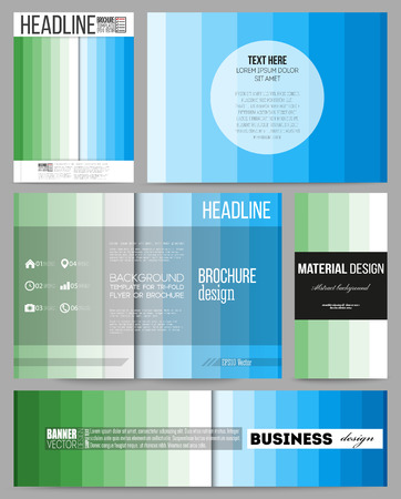 colorful stripes: Set of business templates for presentation, brochure, flyer or booklet. Abstract colorful business background, blue and green colors, modern stylish striped vector texture for your cover design.
