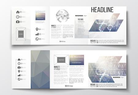 Vector set van tri-voudige brochures, vierkant ontwerp sjablonen met element van de wereldbol. DNA molecuul inrichting op een blauwe achtergrond. Science vector achtergrond. Stockfoto - 55734324