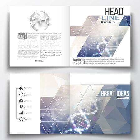 booklet design: Vector set of square design brochure template. DNA molecule structure on a blue background. Science vector background. Illustration