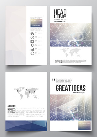 adn: Conjunto de modelos de negocio para el folleto, revista, folleto, folleto o informe anual. Estructura de la molécula de ADN en un fondo azul. La ciencia de vectores de fondo. Vectores