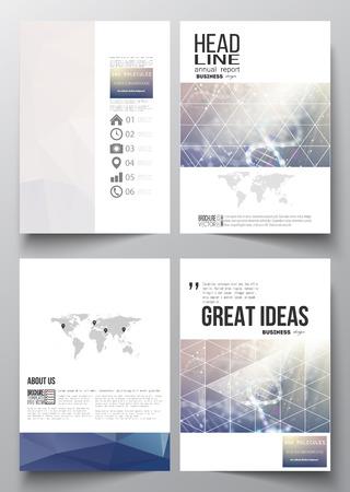 Set van zakelijke sjablonen voor brochure, tijdschrift, flyer, brochure of jaarverslag. DNA molecuul inrichting op een blauwe achtergrond. Science vector achtergrond.