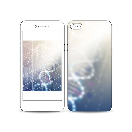 Mobile smartphone with an example of the screen and cover design isolated on white background. DNA molecule structure on a blue background. Science vector background.