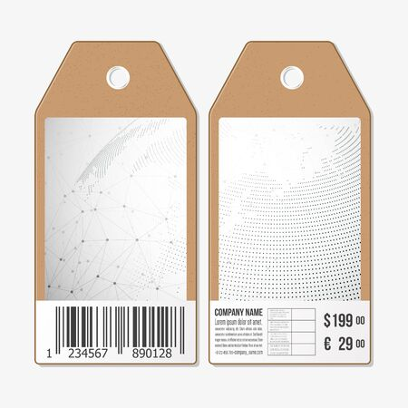 sides: Vector tags design on both sides, cardboard sale labels with barcode. Dotted world globe.