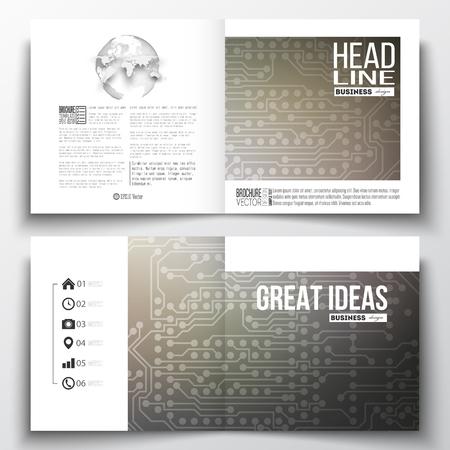 Vektor-Reihe Von Quadratischen Design-Broschüre Vorlage. Microchip ...