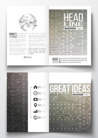 circuitos electricos: Conjunto de modelos de negocio para el folleto, revista, folleto, folleto o informe anual. fondo microchip, circuitos el�ctricos, plantilla de la ciencia del dise�o vectorial. Vectores