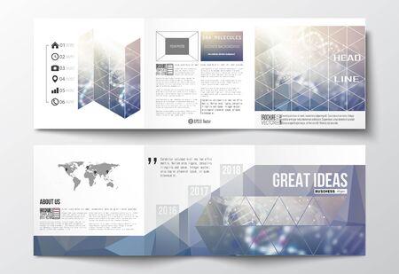 Vector conjunto de folletos trípticos, plantillas de diseño con cuadrados elemento del mapa del mundo. Estructura de la molécula de ADN en un fondo azul. La ciencia de vectores de fondo.