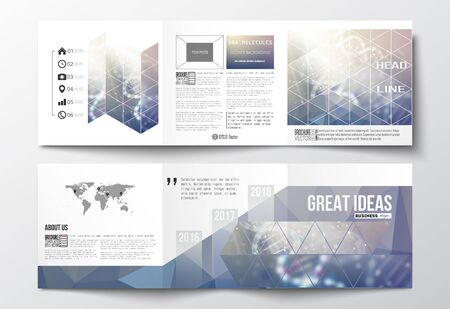 Vector set of tri-fold brochures, square design templates with element of world map. DNA molecule structure on a blue background. Science vector background.