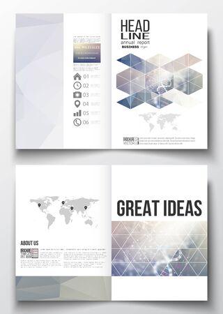 Conjunto de modelos de negocio para el folleto, revista, folleto, folleto o informe anual. Estructura de la molécula de ADN en un fondo azul. La ciencia de vectores de fondo.