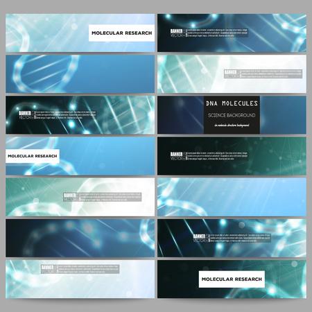 website background: Set of modern vector banners. DNA molecule structure on dark blue background. Science vector background. Illustration