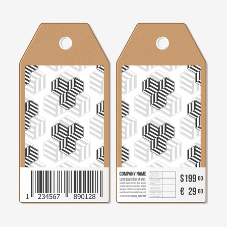 both sides: Vector tags design on both sides, cardboard sale labels with barcode. Recurring cubes on background. Geometric pattern. Simple abstract monochrome texture.