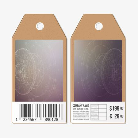 circuit sale: Vector tags design on both sides, cardboard sale labels with barcode. Abstract science vector background.
