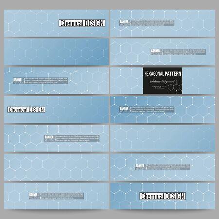 technology banner: Set of modern vector banners. Chemistry pattern, hexagonal design vector illustration
