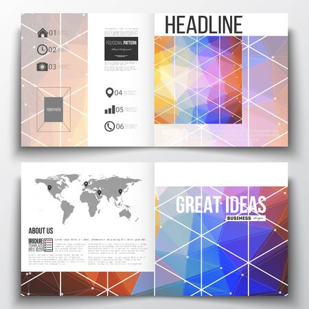 flier: Vector set of square design brochure template. Abstract colorful polygonal background, modern stylish triangle vector texture. Illustration