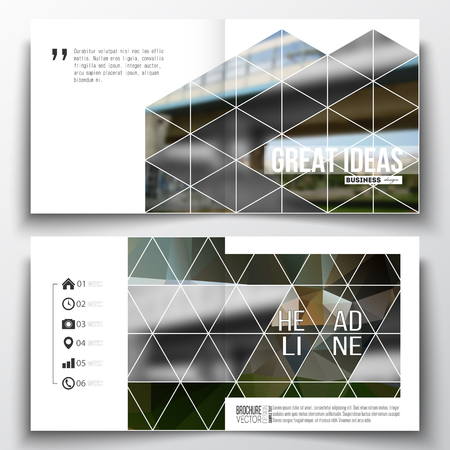 urban scene: Vector set of square design brochure template. Colorful polygonal background, blurred image, urban scene, modern stylish triangular vector texture.