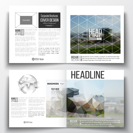 booklet design: Vector set of square design brochure template. Colorful polygonal background, blurred image, airport landscape, modern stylish triangular vector texture.
