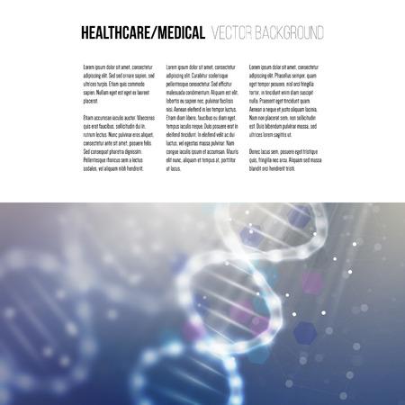 Modelo del asunto para el folleto, revista, folleto, folleto o informe anual. Estructura de la molécula de ADN en un fondo azul. La ciencia de vectores de fondo.