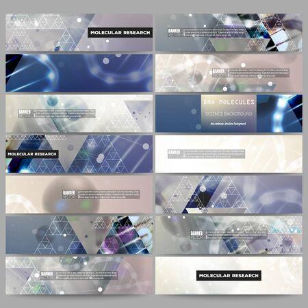 cover art: Set of modern vector banners. DNA molecule structure on dark blue background. Science vector background. Illustration